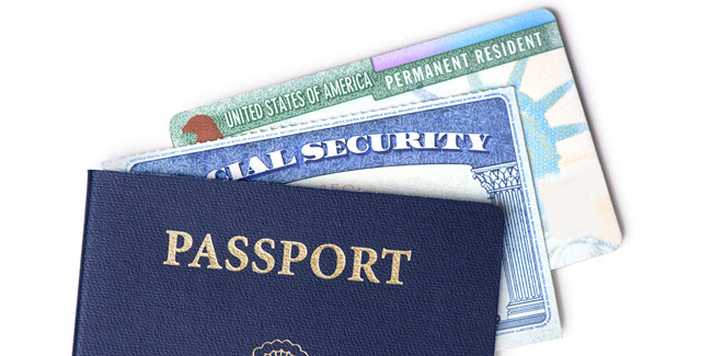 passport, green card, and social security card for a resident alien