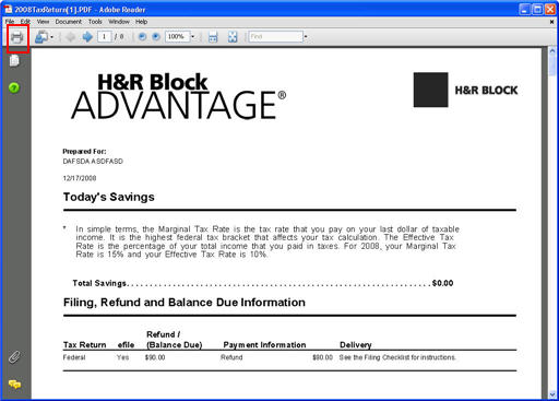 printing current year state tax return for h u0026r block at home u2122 online - customer support